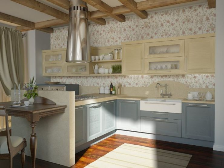 kitchen-pastel-color-tone-of-traditional-kitchen-idea-with-pink-floral-wallpaper-motif-and-smokey-blue-cabinets-and-beige-countertop-and-wall-storage-also-extended-dining-table-island-and-laminate-wo