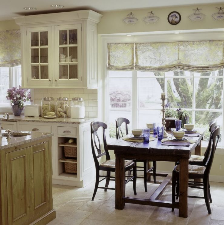 rustic-dining-set-design-plus-white-cabinets-paint-idea-feat-charming-kitchen-bay-window-curtain