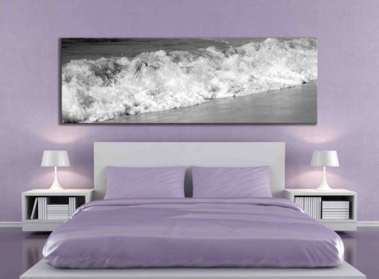 minimalist lilac bedroom - rendering - the art picture on wall is a my image