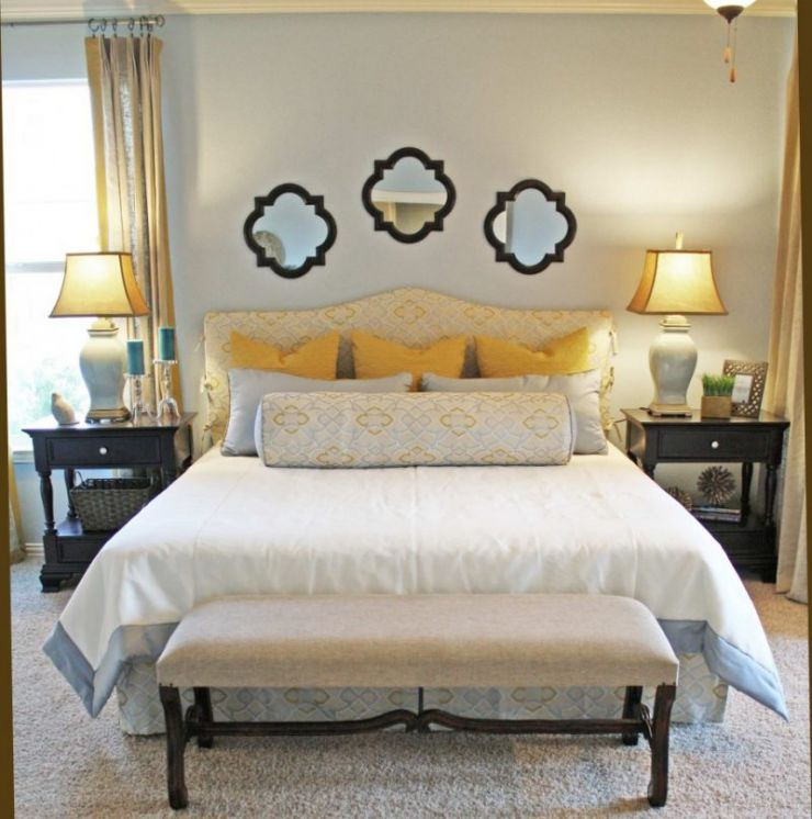 bedroom-with-shag-area-rug-idea-and-comfortable-long-bench-design-also-cute-mirror-headboard
