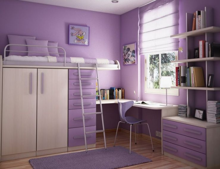 comfortable-bedroom-design-idea-for-teenage-girls-with-lilac-wall-cream-bunk-bed-with-lilac-drawers-and-white-window-frame-admirable-bedroom-design-ideas-for-teenage-girls