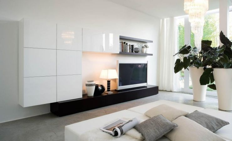 modern-enchanting-bedroom-theme-design-with-white-tv-cabinet-on-the-wall-also-beige-gray-pillow