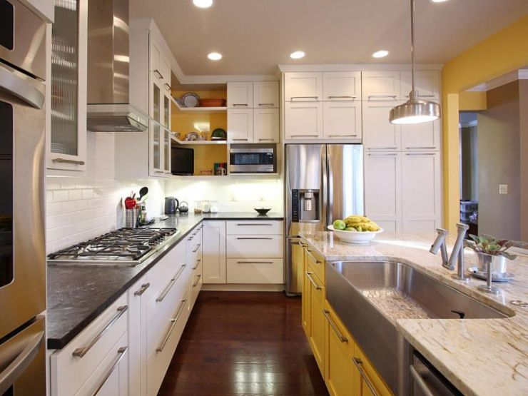 white-paint-kitchen-cabinets-and-yellow-island-on-laminate-oak-flooring-in-cozy-kitchen