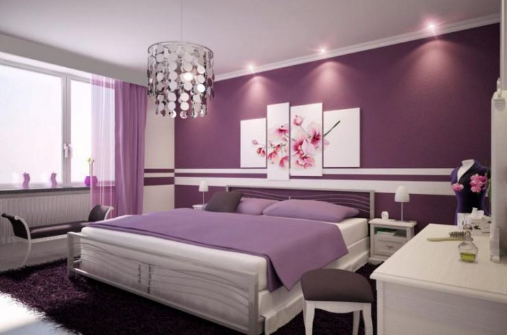 marvelous-small-home-interior-design-idea-for-bedroom-with-plum-wall-plum-curtain-silver-chandelier-and-lilac-pillows-remarkable-marvelous-small-home-interior-design-ideas