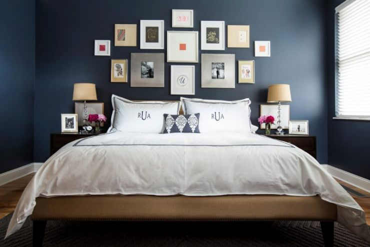 dark-blue-bedroom-design-decor-ideas-with-photo-frame-decoration